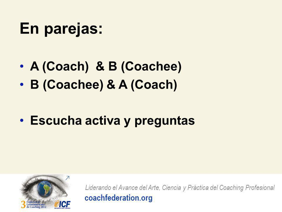 En parejas: A (Coach) & B (Coachee) B (Coachee) & A (Coach)