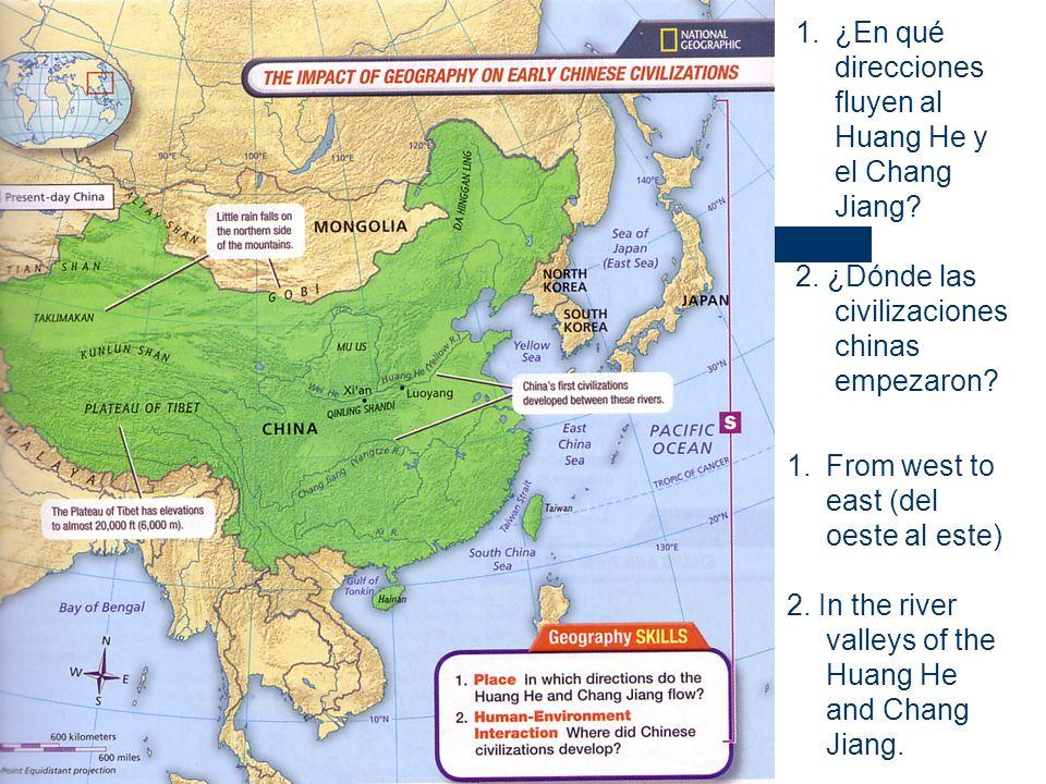 ¿En qué direcciones fluyen al Huang He y el Chang Jiang