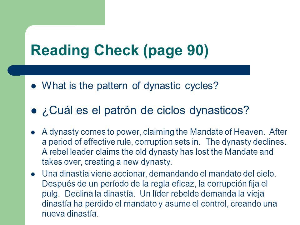 Reading Check (page 90) ¿Cuál es el patrón de ciclos dynasticos