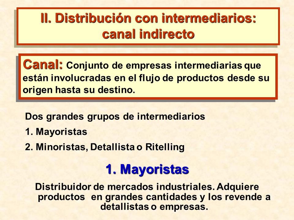 II. Distribución con intermediarios: canal indirecto