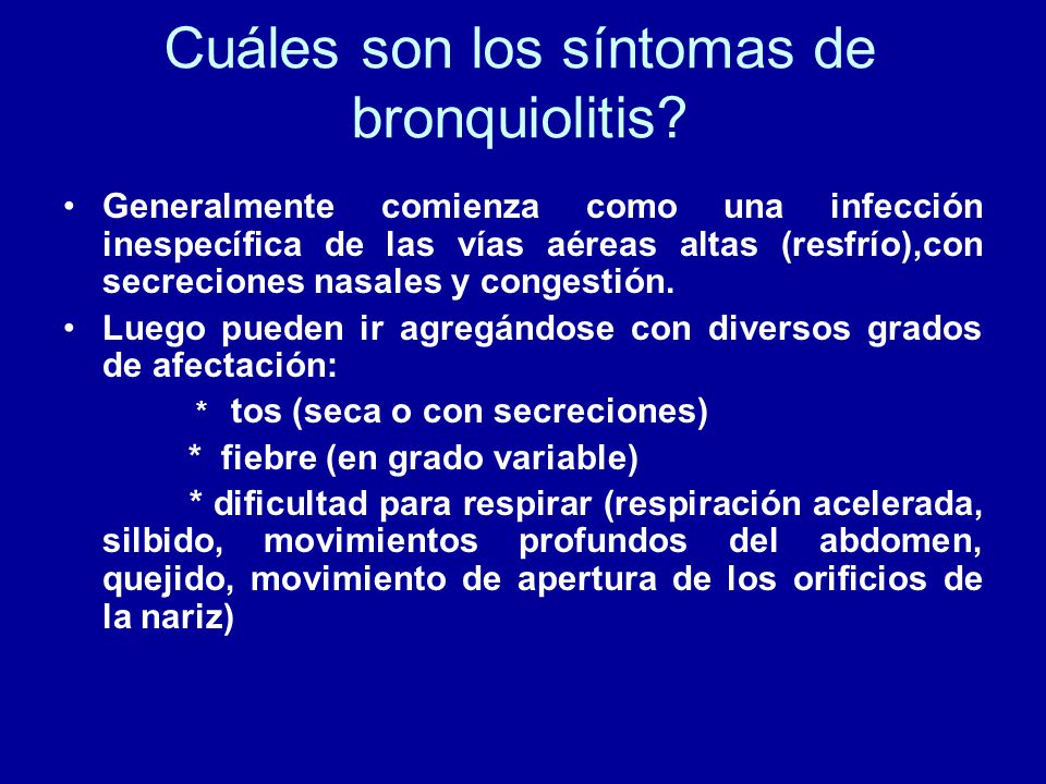 Cuáles son los síntomas de bronquiolitis