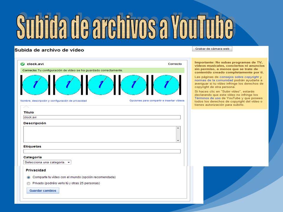 Subida de archivos a YouTube
