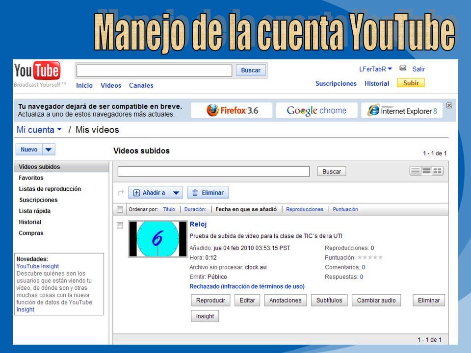 Manejo de la cuenta YouTube