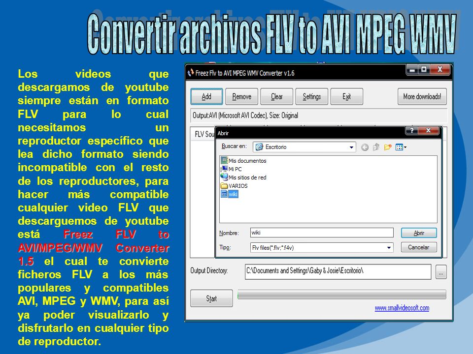 Convertir archivos FLV to AVI MPEG WMV