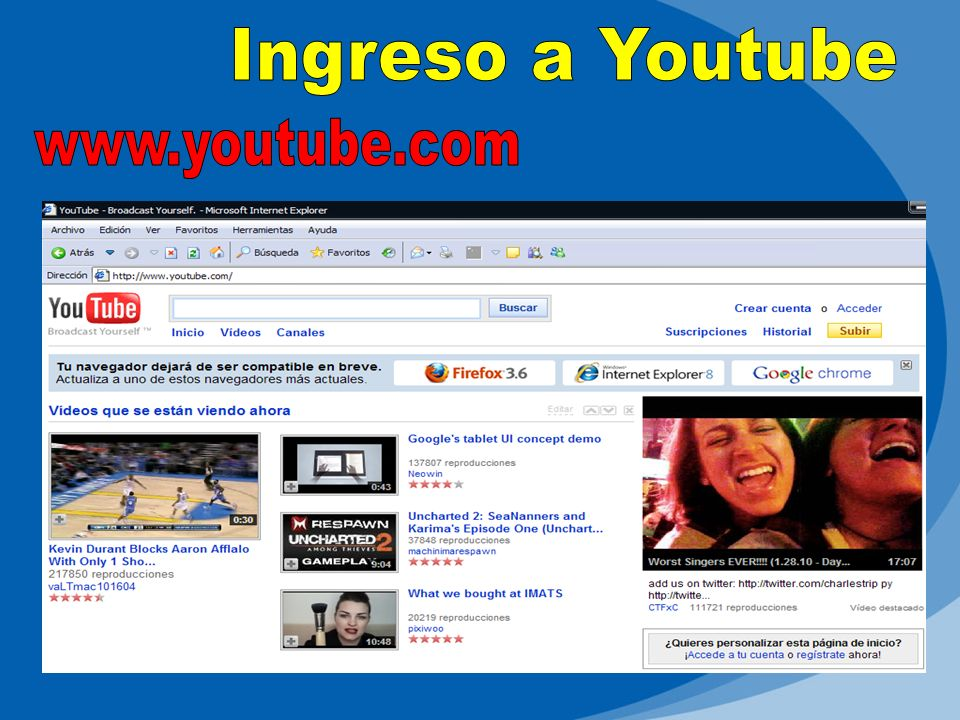 Ingreso a Youtube www.youtube.com