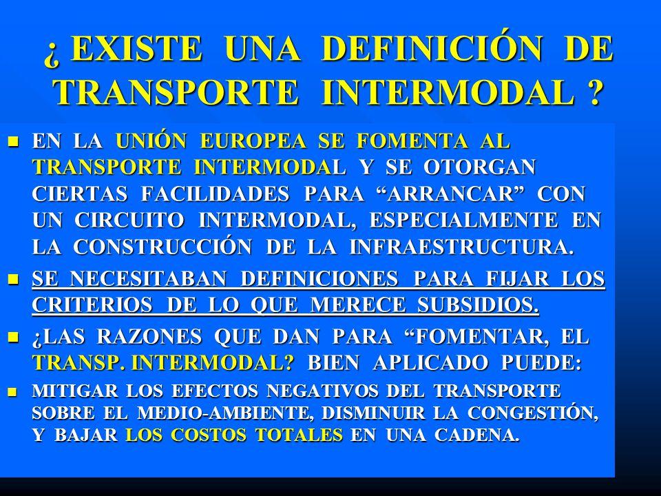 ¿ EXISTE UNA DEFINICIÓN DE TRANSPORTE INTERMODAL