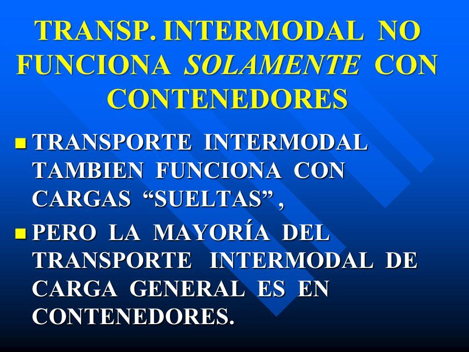 TRANSP. INTERMODAL NO FUNCIONA SOLAMENTE CON CONTENEDORES