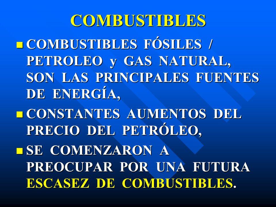 COMBUSTIBLES COMBUSTIBLES FÓSILES / PETROLEO y GAS NATURAL, SON LAS PRINCIPALES FUENTES DE ENERGÍA,