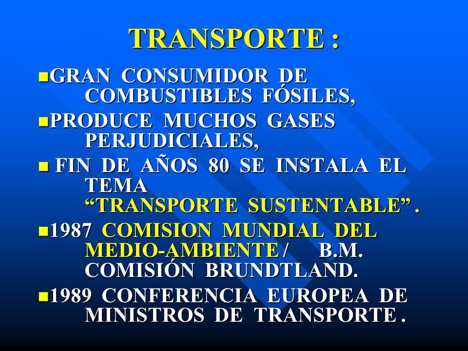 TRANSPORTE : GRAN CONSUMIDOR DE COMBUSTIBLES FÓSILES,