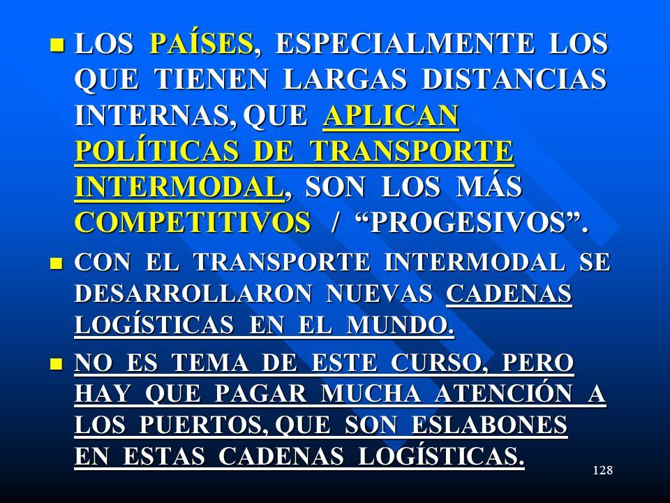 LOS PAÍSES, ESPECIALMENTE LOS QUE TIENEN LARGAS DISTANCIAS INTERNAS, QUE APLICAN POLÍTICAS DE TRANSPORTE INTERMODAL, SON LOS MÁS COMPETITIVOS / PROGESIVOS .