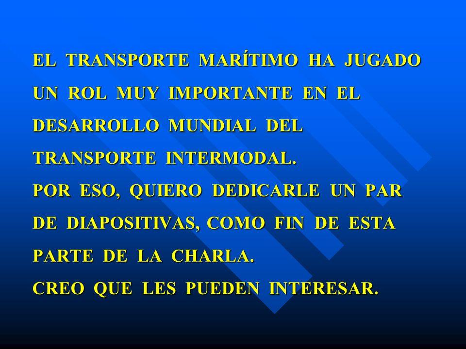 EL TRANSPORTE MARÍTIMO HA JUGADO UN ROL MUY IMPORTANTE EN EL DESARROLLO MUNDIAL DEL TRANSPORTE INTERMODAL.