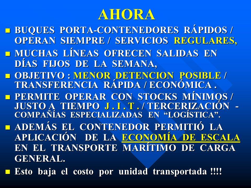 AHORA BUQUES PORTA-CONTENEDORES RÁPIDOS / OPERAN SIEMPRE / SERVICIOS REGULARES,