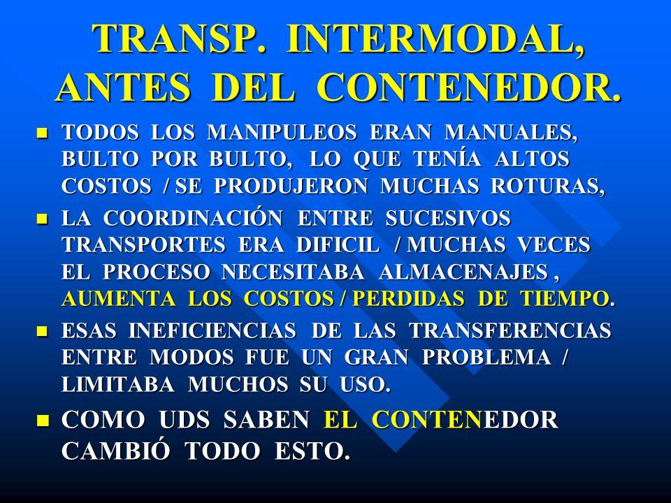 TRANSP. INTERMODAL, ANTES DEL CONTENEDOR.