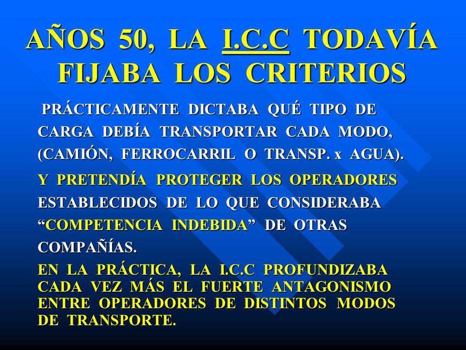 AÑOS 50, LA I.C.C TODAVÍA FIJABA LOS CRITERIOS