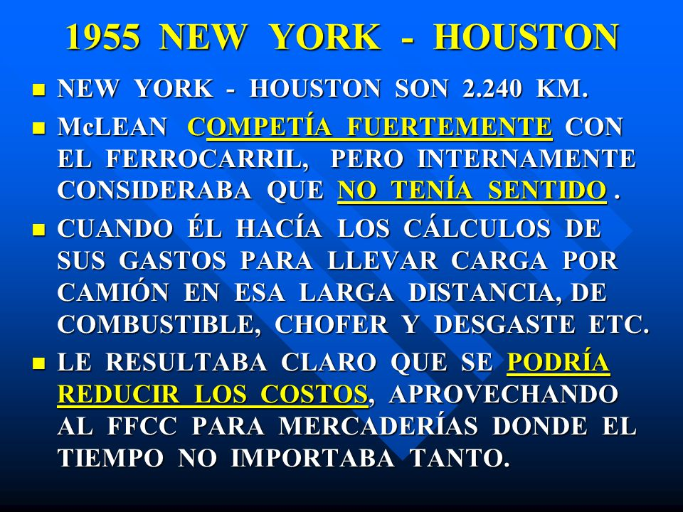 1955 NEW YORK - HOUSTON NEW YORK - HOUSTON SON 2.240 KM.