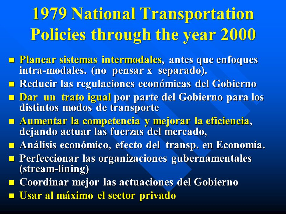 1979 National Transportation Policies through the year 2000