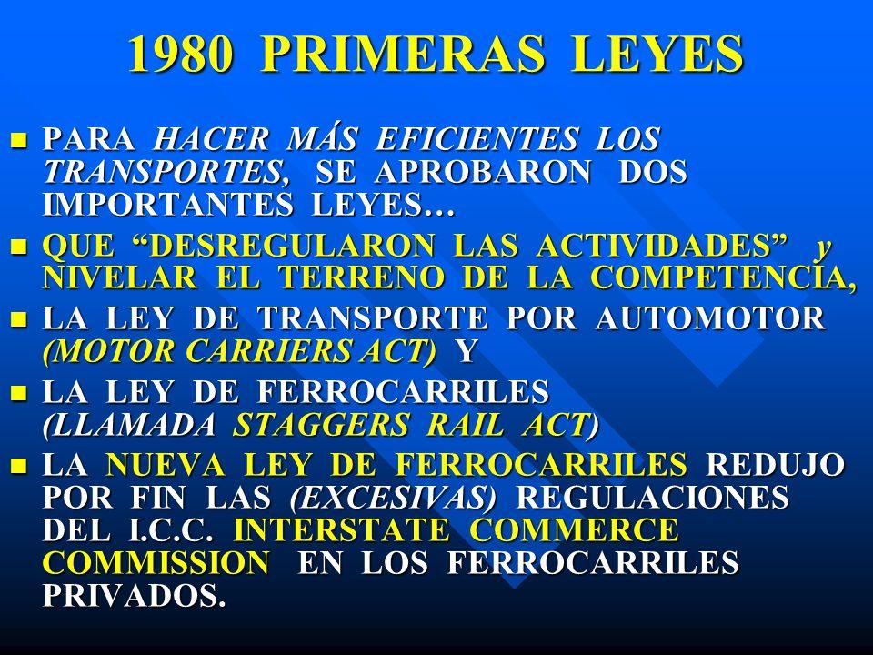 1980 PRIMERAS LEYES PARA HACER MÁS EFICIENTES LOS TRANSPORTES, SE APROBARON DOS IMPORTANTES LEYES…