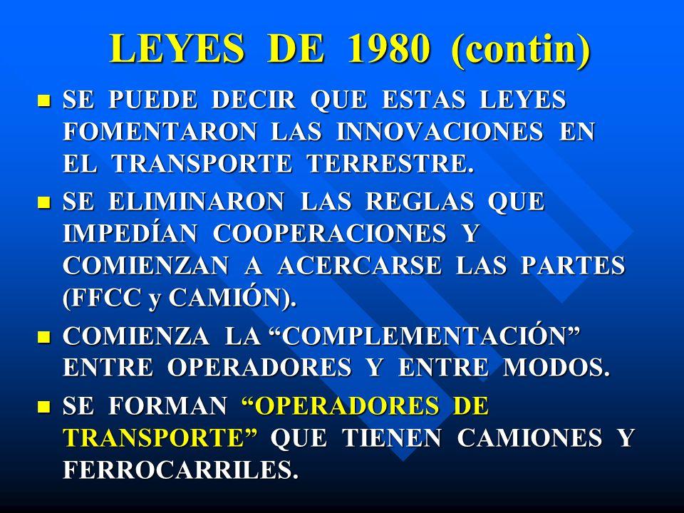 LEYES DE 1980 (contin) SE PUEDE DECIR QUE ESTAS LEYES FOMENTARON LAS INNOVACIONES EN EL TRANSPORTE TERRESTRE.