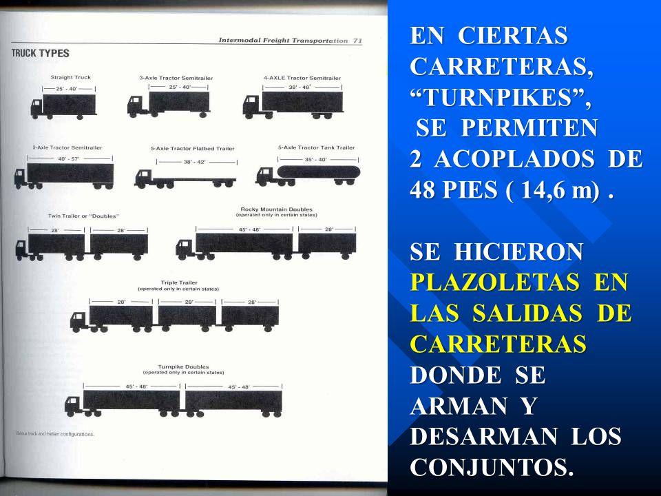 CARRETERAS, TURNPIKES , SE PERMITEN 2 ACOPLADOS DE