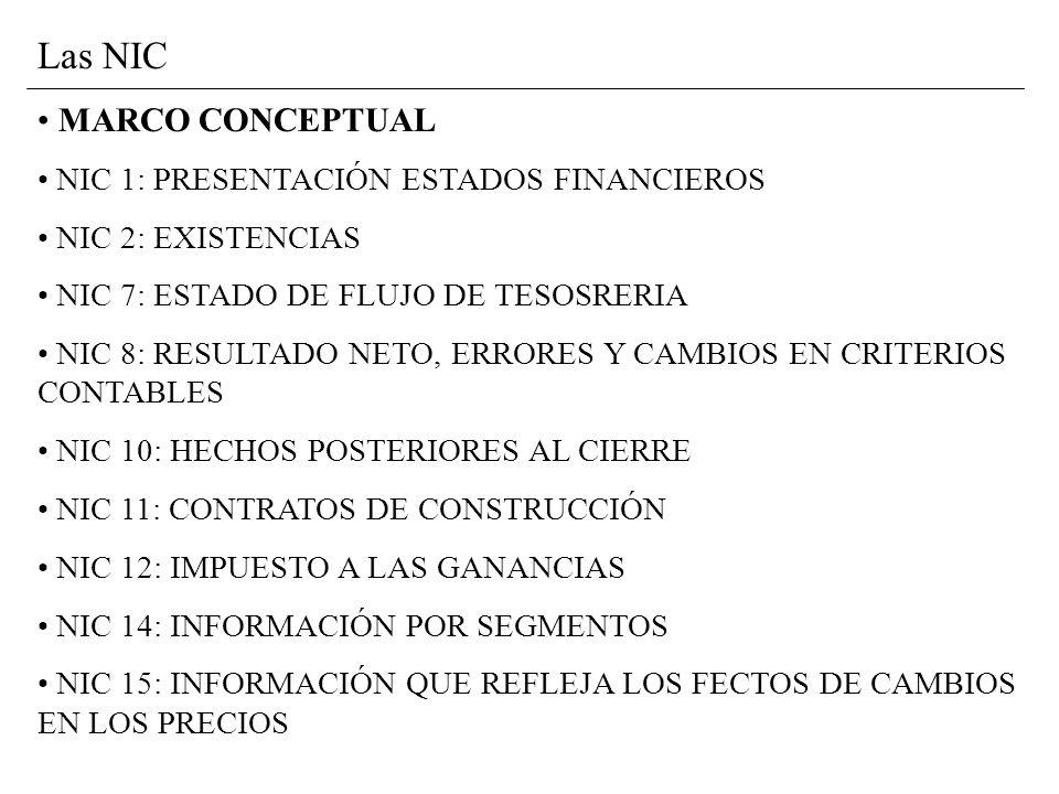 Las NIC MARCO CONCEPTUAL NIC 1: PRESENTACIÓN ESTADOS FINANCIEROS