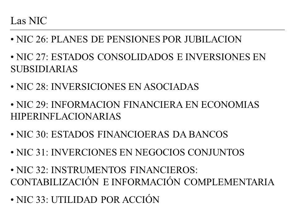 Las NIC NIC 26: PLANES DE PENSIONES POR JUBILACION