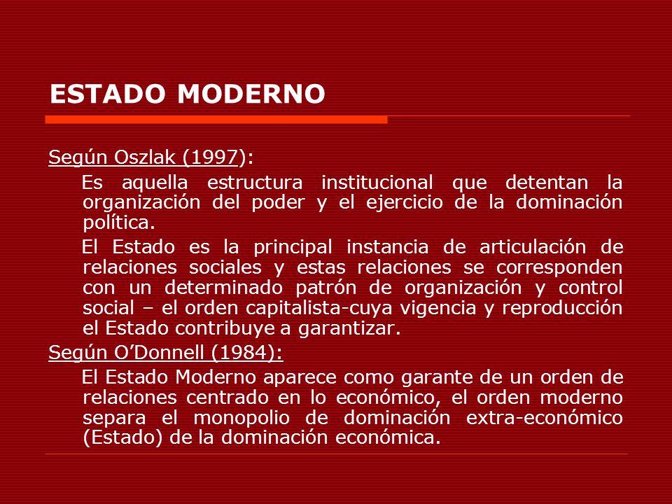 ESTADO MODERNO Según Oszlak (1997):