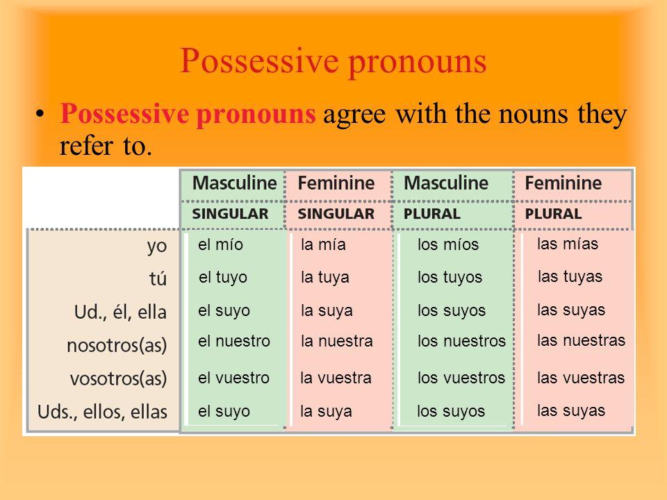 Possessive pronouns Possessive pronouns agree with the nouns they refer to. el mío. la mía. los míos.