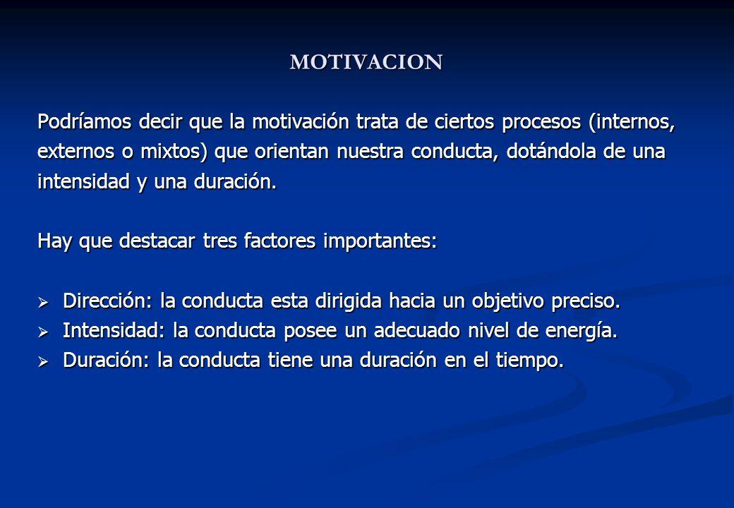 MOTIVACION Podríamos decir que la motivación trata de ciertos procesos (internos, externos o mixtos) que orientan nuestra conducta, dotándola de una.