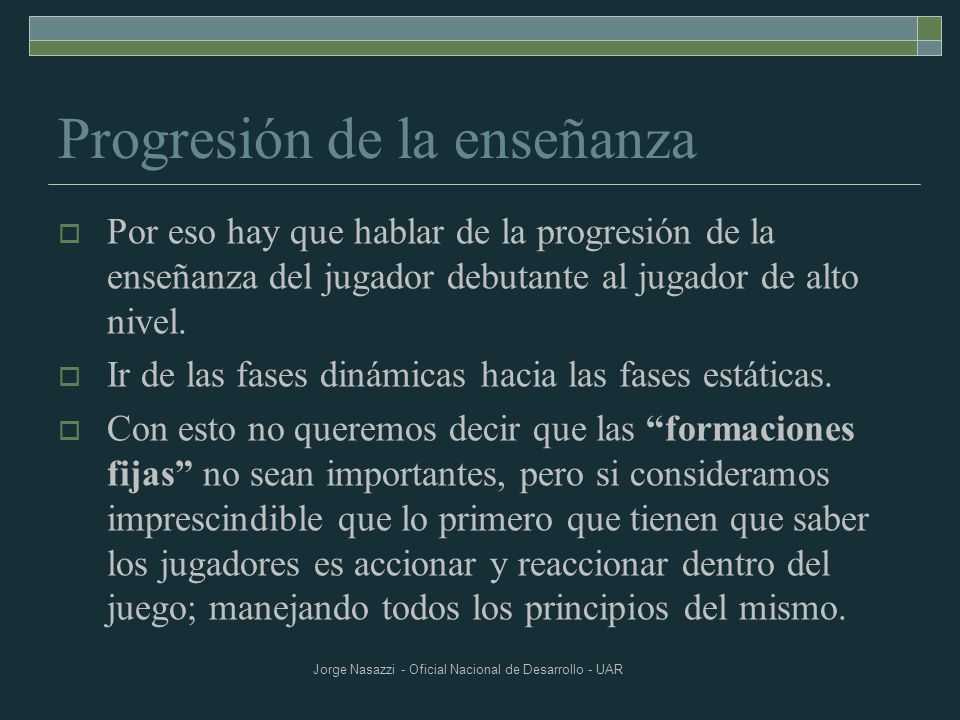 Progresión de la enseñanza
