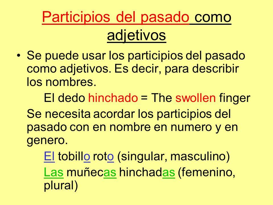 Participios del pasado como adjetivos