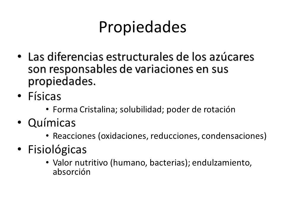 Propiedades Las diferencias estructurales de los azúcares son responsables de variaciones en sus propiedades.