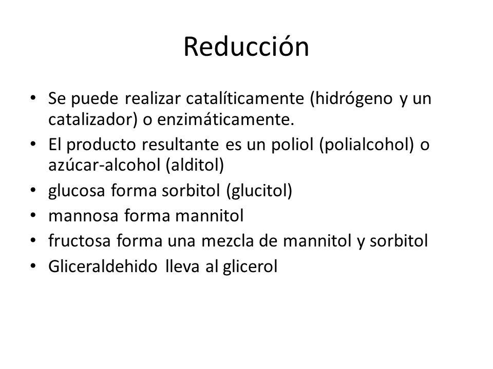 Reducción Se puede realizar catalíticamente (hidrógeno y un catalizador) o enzimáticamente.