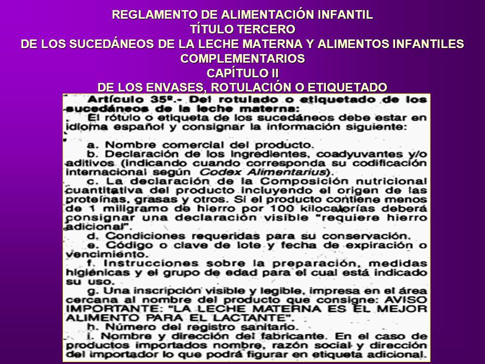 REGLAMENTO DE ALIMENTACIÓN INFANTIL TÍTULO TERCERO DE LOS SUCEDÁNEOS DE LA LECHE MATERNA Y ALIMENTOS INFANTILES COMPLEMENTARIOS CAPÍTULO II DE LOS ENVASES, ROTULACIÓN O ETIQUETADO