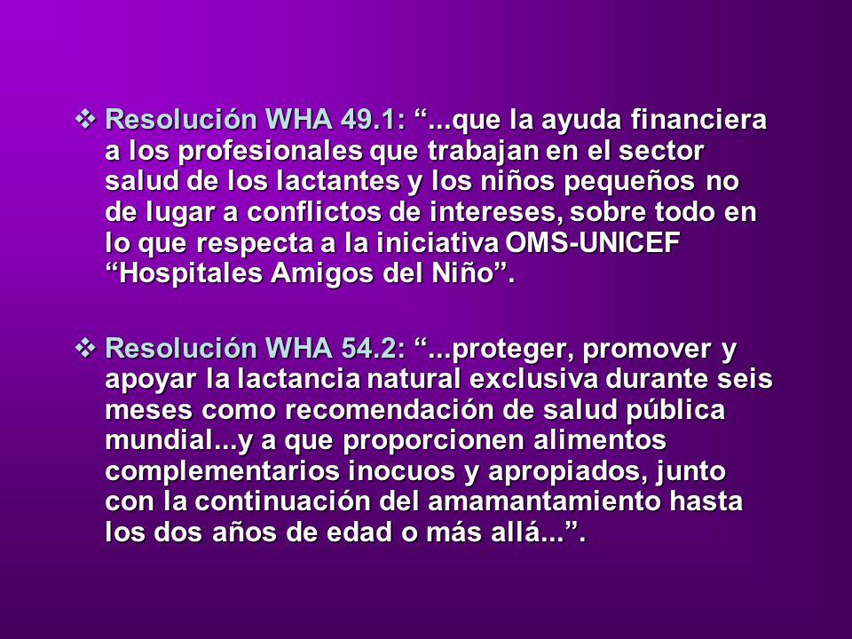 Resolución WHA 49.1: ...que la ayuda financiera a los profesionales que trabajan en el sector salud de los lactantes y los niños pequeños no de lugar a conflictos de intereses, sobre todo en lo que respecta a la iniciativa OMS-UNICEF Hospitales Amigos del Niño .