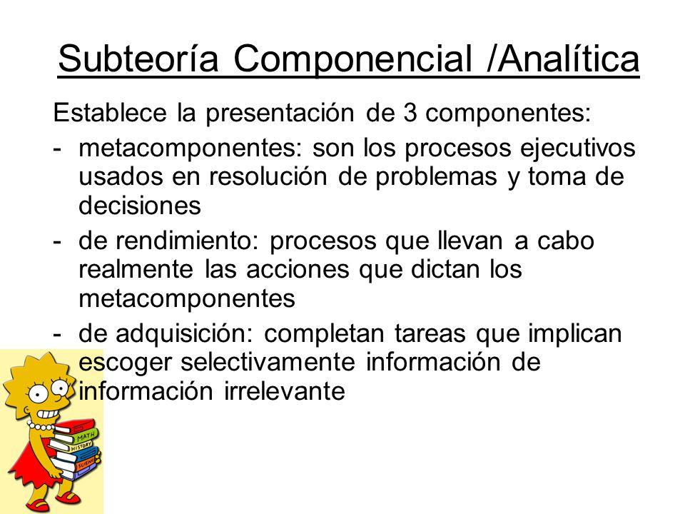 Subteoría Componencial /Analítica