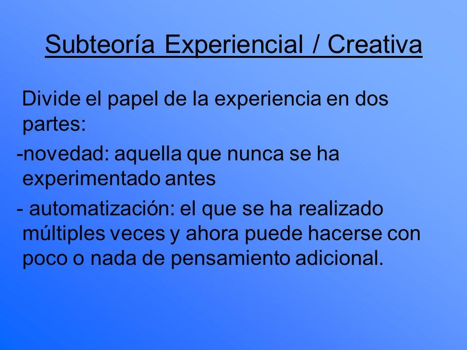 Subteoría Experiencial / Creativa