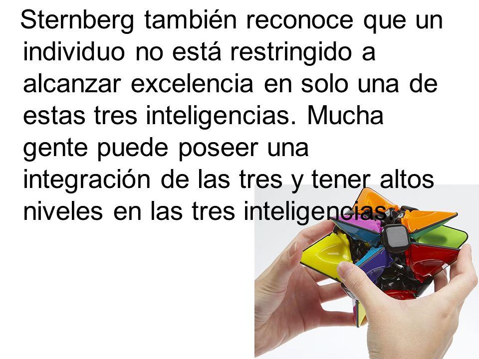 Sternberg también reconoce que un individuo no está restringido a alcanzar excelencia en solo una de estas tres inteligencias.