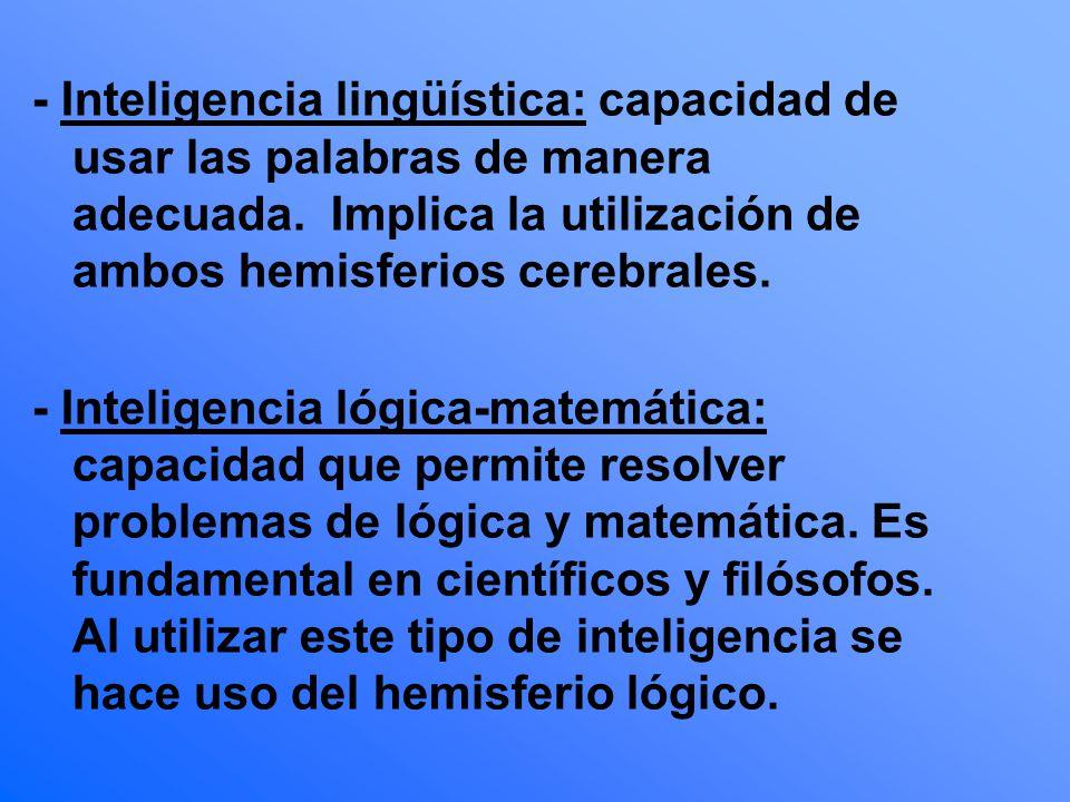 - Inteligencia lingüística: capacidad de usar las palabras de manera adecuada. Implica la utilización de ambos hemisferios cerebrales.