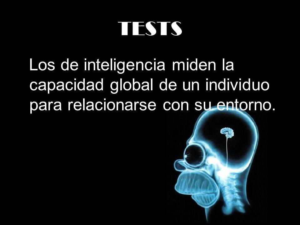 TESTS Los de inteligencia miden la capacidad global de un individuo para relacionarse con su entorno.