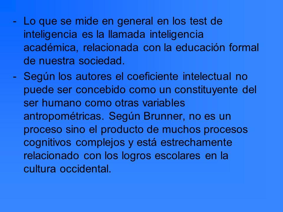 Lo que se mide en general en los test de inteligencia es la llamada inteligencia académica, relacionada con la educación formal de nuestra sociedad.