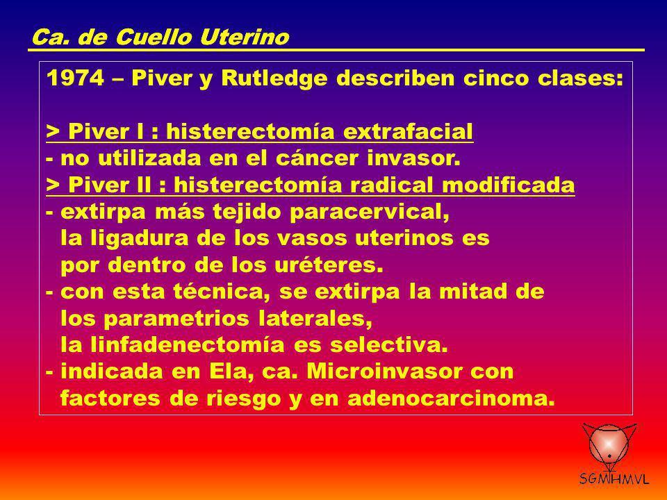 Ca. de Cuello Uterino Ca. de Cuello Uterino. 1974 – Piver y Rutledge describen cinco clases: > Piver l : histerectomía extrafacial.