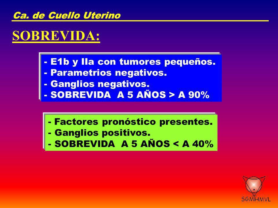 SOBREVIDA: Ca. de Cuello Uterino Ca. de Cuello Uterino