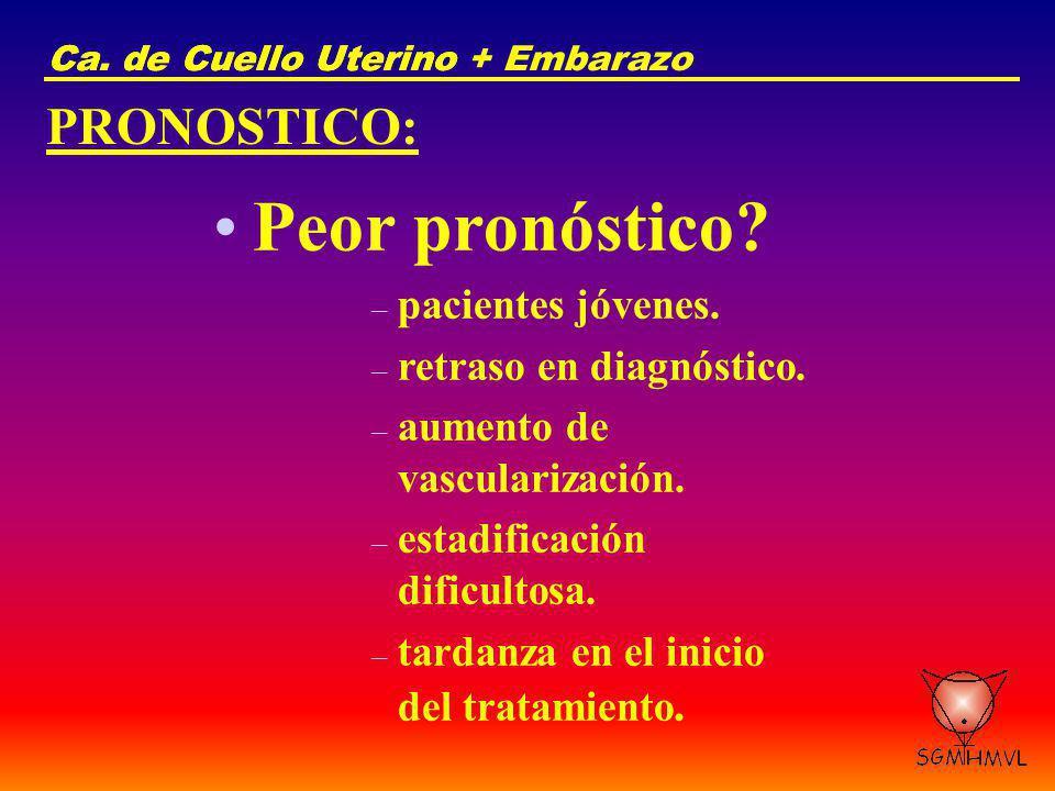 Peor pronóstico PRONOSTICO: pacientes jóvenes.