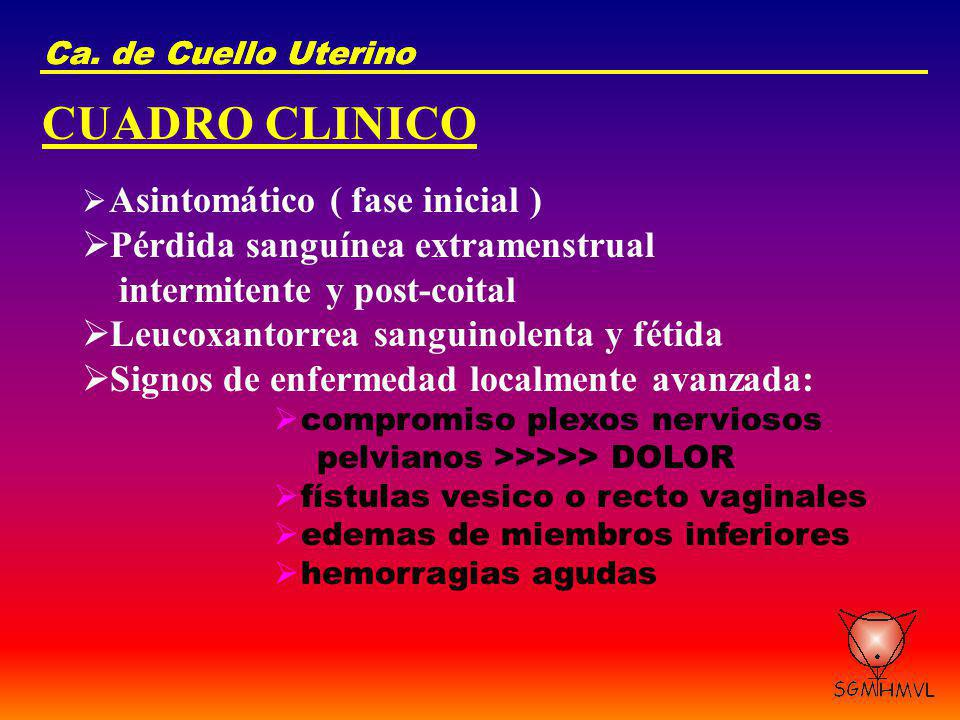 CUADRO CLINICO Pérdida sanguínea extramenstrual