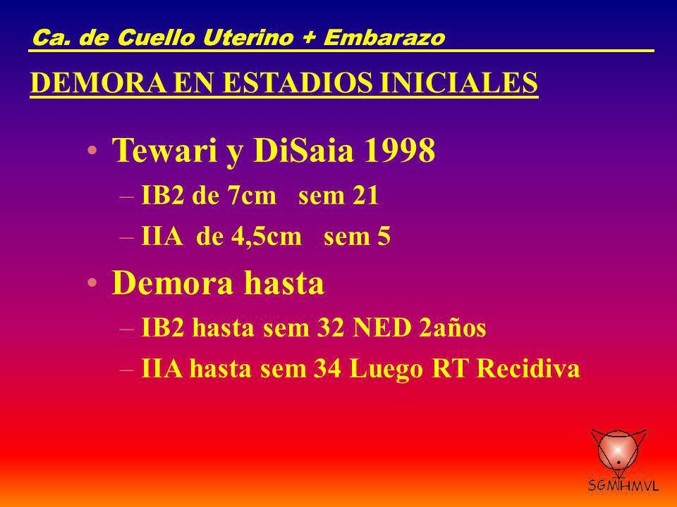 Tewari y DiSaia 1998 Demora hasta DEMORA EN ESTADIOS INICIALES
