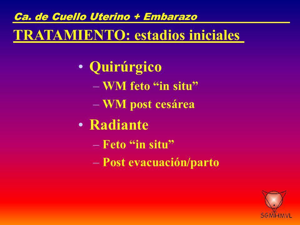 Quirúrgico Radiante TRATAMIENTO: estadios iniciales WM feto in situ