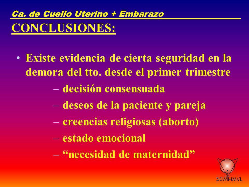 Ca. de Cuello Uterino Ca. de Cuello Uterino + Embarazo. CONCLUSIONES: