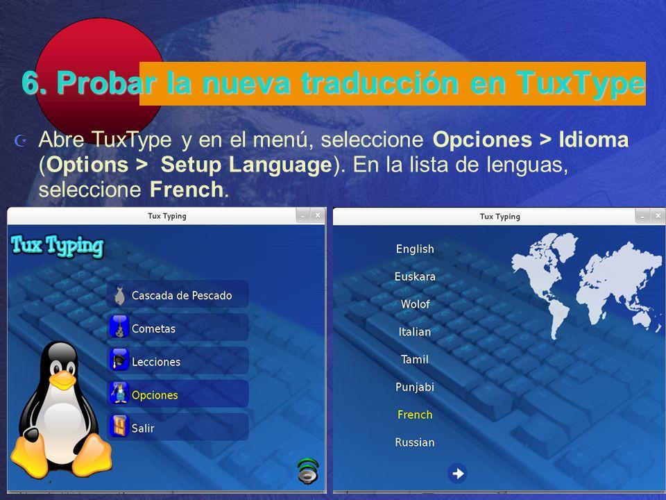 6. Probar la nueva traducción en TuxType