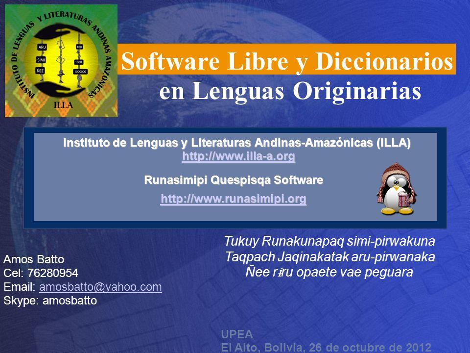 Software Libre y Diccionarios en Lenguas Originarias