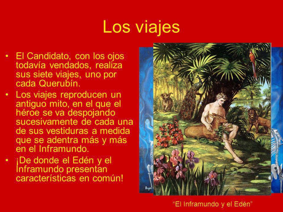 Los viajes El Candidato, con los ojos todavía vendados, realiza sus siete viajes, uno por cada Querubín.